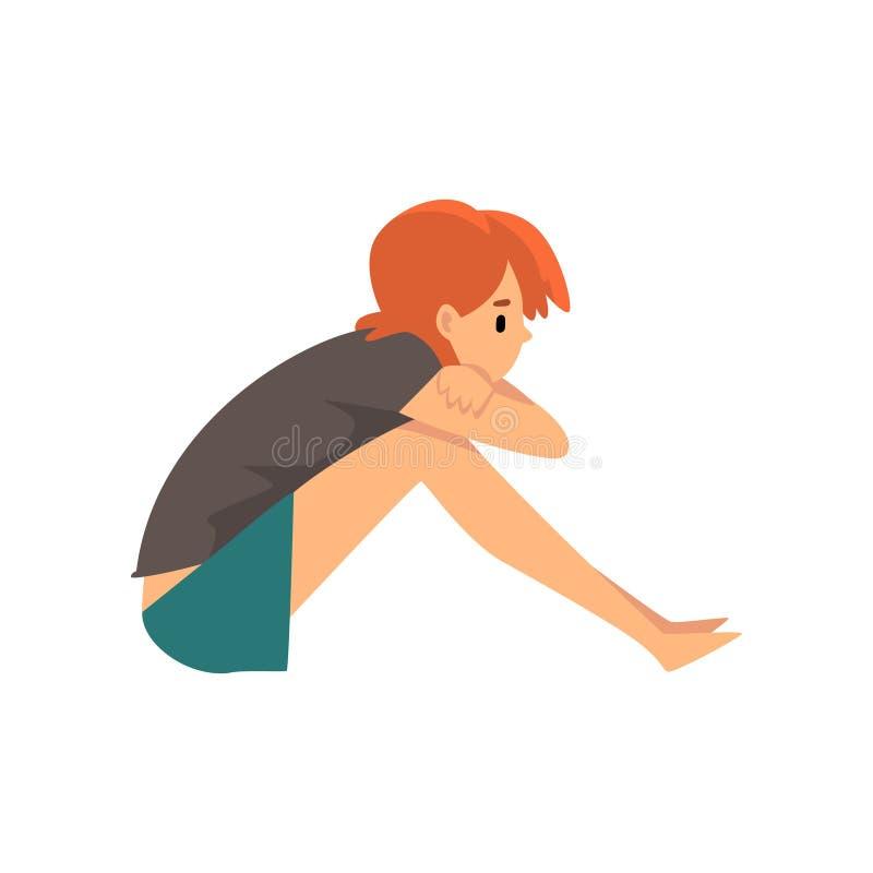 Dziewczyny obsiadanie na podłodze, Marzyć, Wydawać weekend w domu i Relaksować w domu, młoda kobieta odpoczynku Wektorowa ilustra royalty ilustracja
