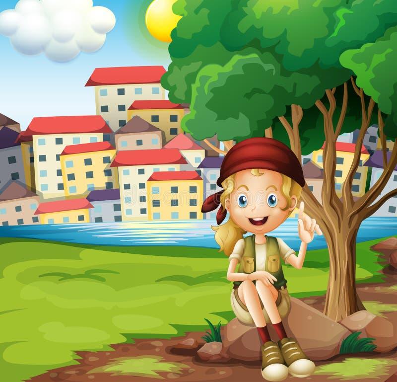 Dziewczyny obsiadanie nad skała pod drzewem ilustracji