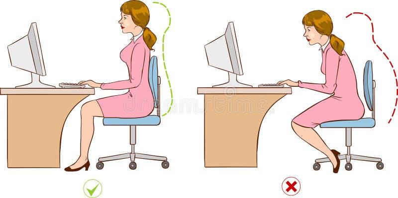 Dziewczyny obsiadanie przy ergonomically poprawną komputer stacją ilustracji