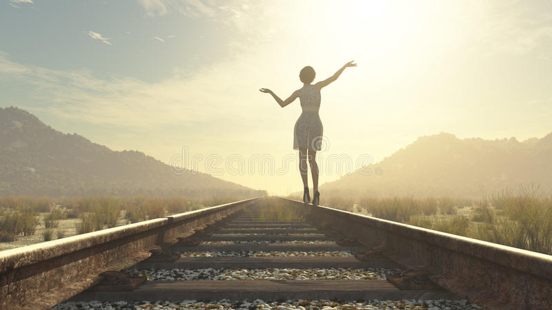 Dziewczyny odprowadzenie na linii kolejowej ilustracji