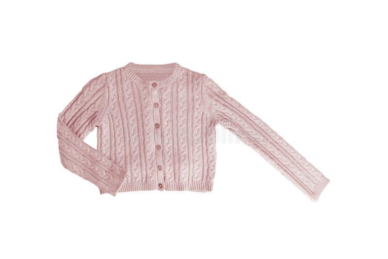 Dziewczyny odziewają Świąteczny piękny różowy mała dziewczynka pulower lub trykotowy kardigan odizolowywający na białym tle Dziec obraz royalty free