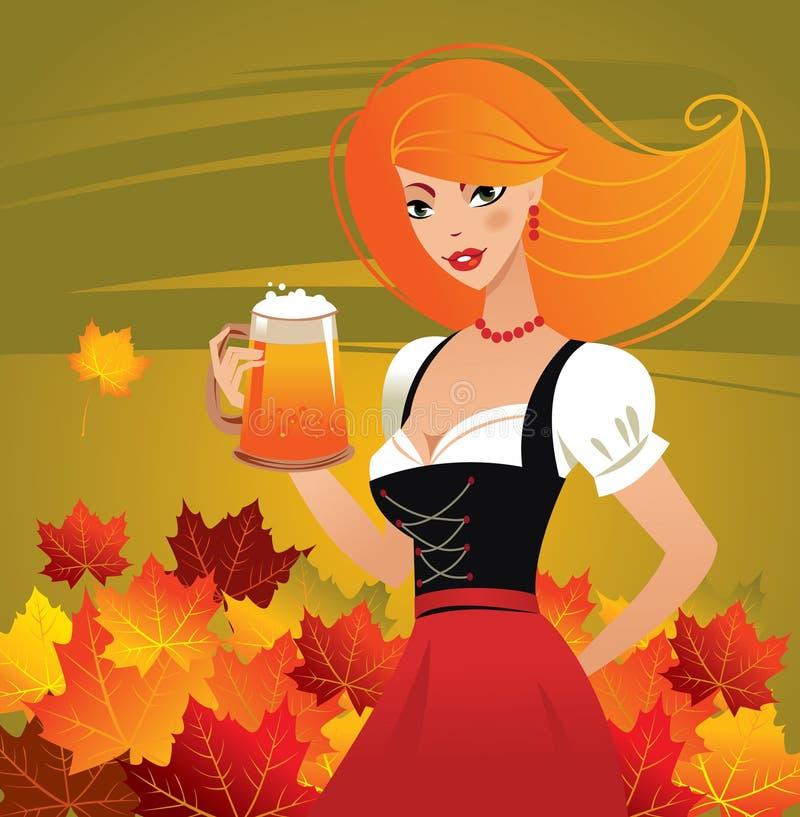 dziewczyny piwna niemiecka porcja royalty ilustracja