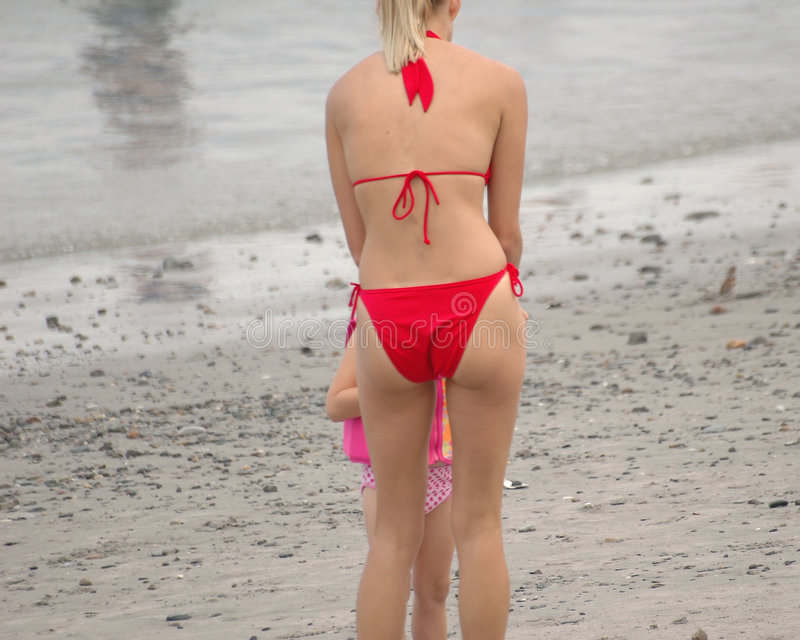 Dziewczyny plażowa czerwone.