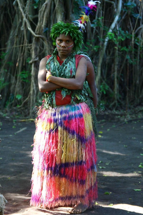 dziewczyny plemienna Vanuatu wioska zdjęcia royalty free