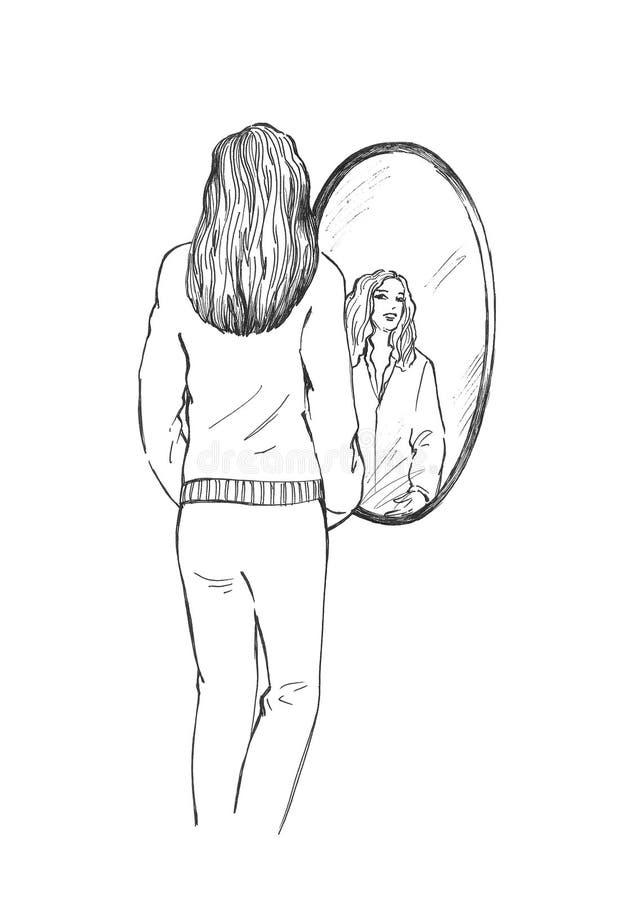 dziewczyny pobliski lustrzany ilustracja wektor