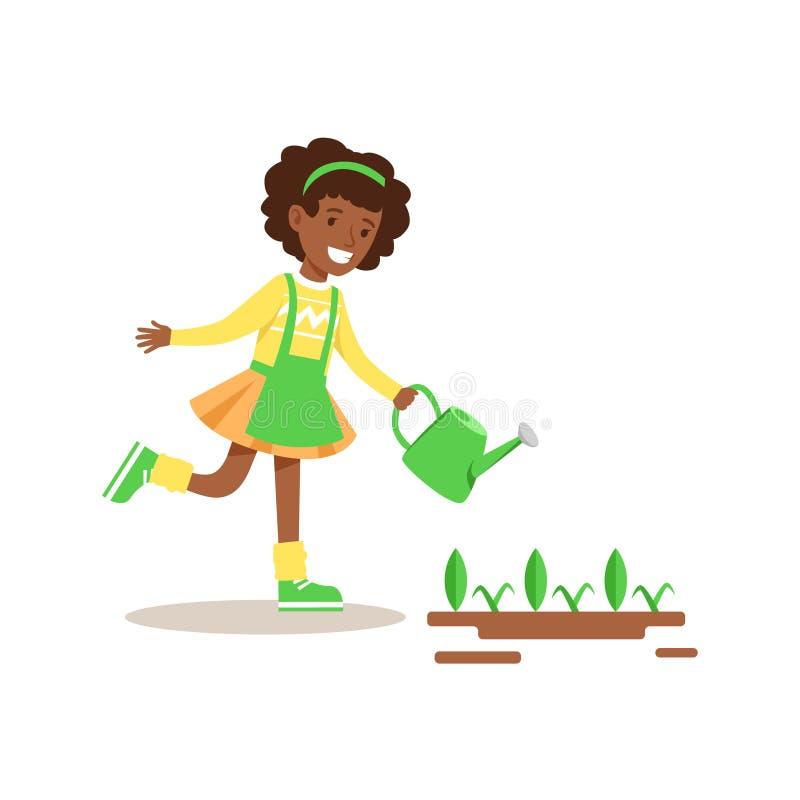 Dziewczyny podlewania flance Pomaga W życzliwym Uprawiający ogródek Outdoors część dzieciaki I natur serie ilustracja wektor