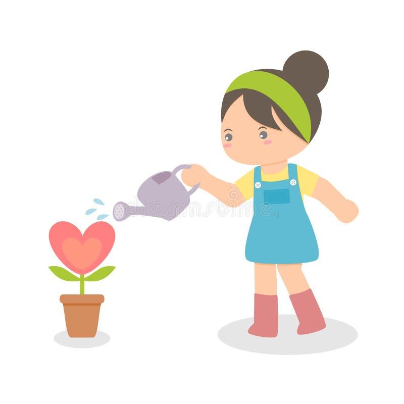 Dziewczyny podlewania Kierowa roślina zdjęcie royalty free