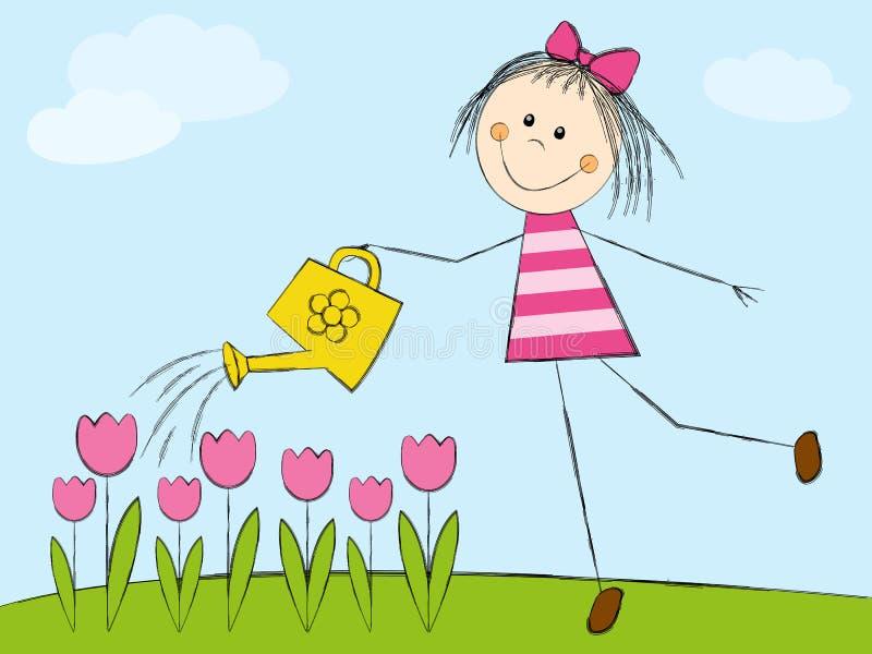Dziewczyny podlewania kwiaty ilustracja wektor
