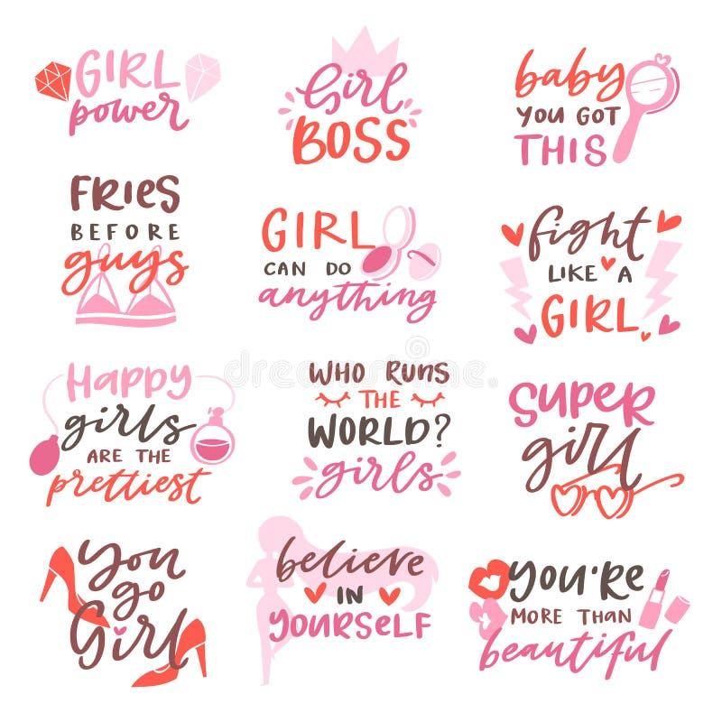 Dziewczyny podpisują wektorowego girlie literowanie i piękny żeński moda szablonu druku ilustracyjnego ustawiających teksta lub d ilustracja wektor