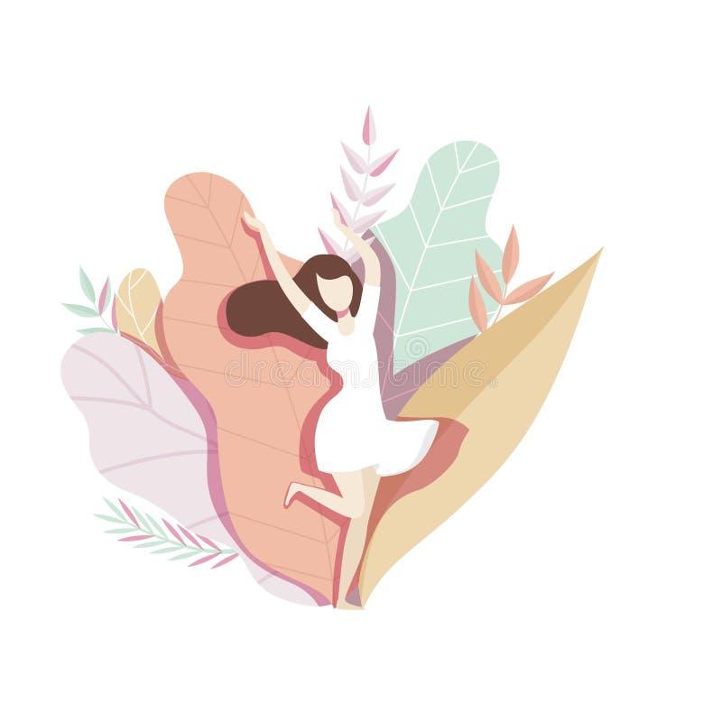 Dziewczyny pozycja na naturalnym tle z dużymi liśćmi, beztwarzowa młoda kobieta w pięknej natura wektoru ilustracji ilustracji
