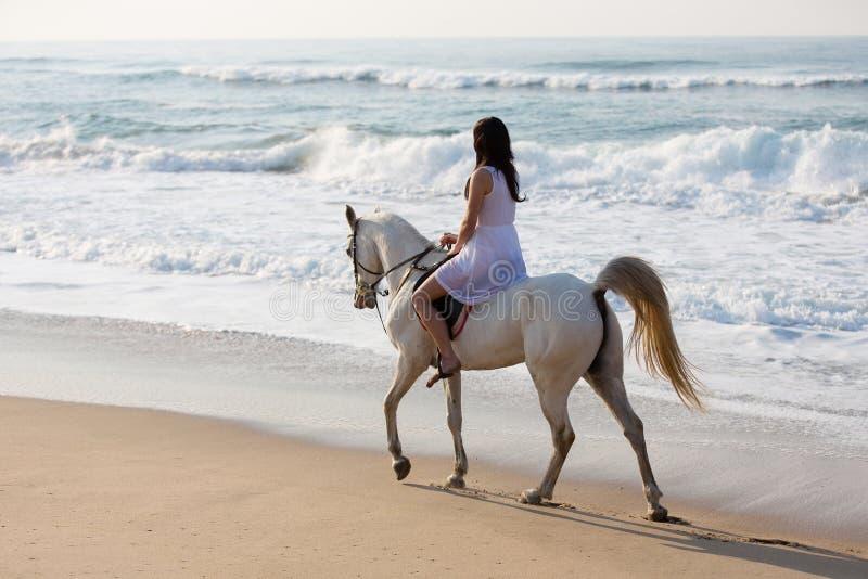 Dziewczyny przejażdżki końska plaża zdjęcie royalty free