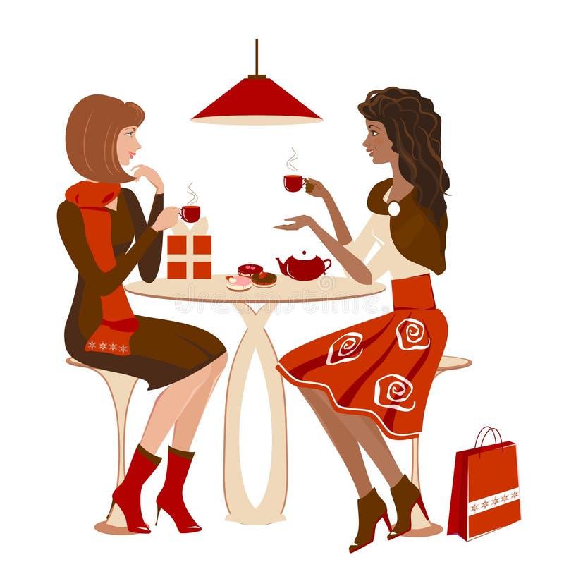 Dziewczyny przy kawiarnią ilustracji