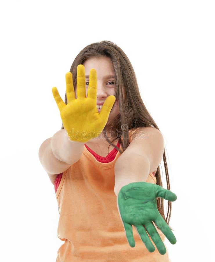dziewczyny ręk farba zdjęcie royalty free