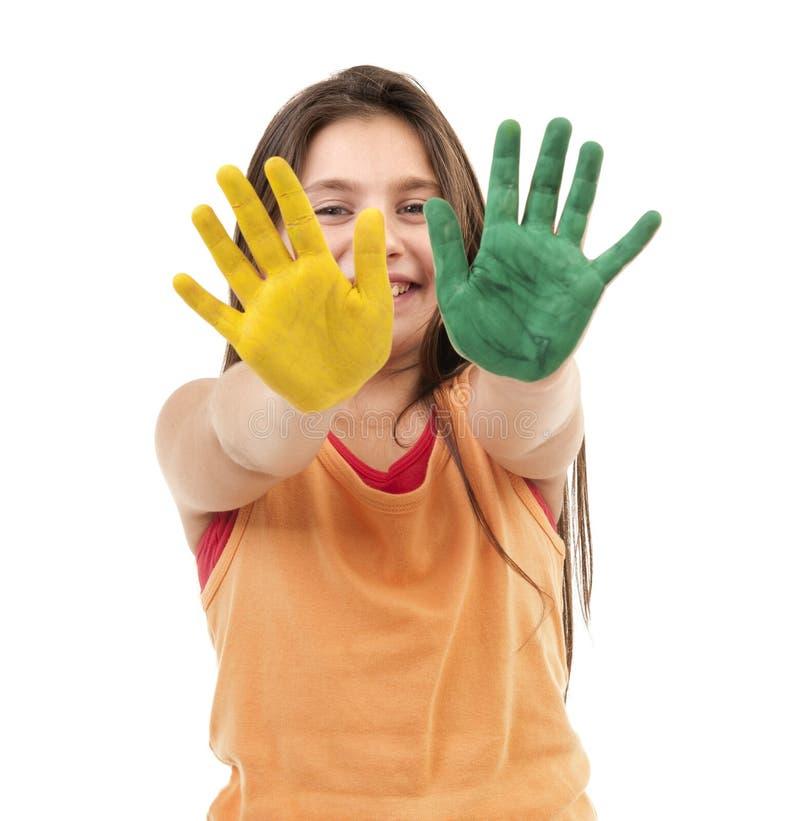 dziewczyny ręk farba fotografia stock