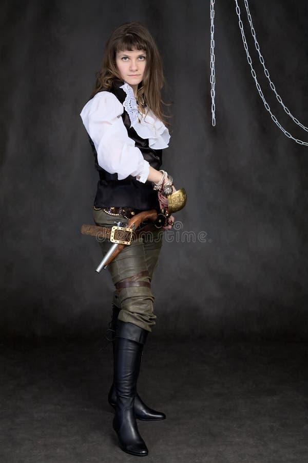 dziewczyny ręk pirata szabla obrazy royalty free