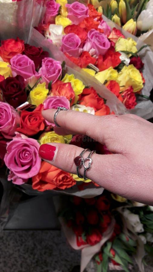 Dziewczyny ręki wp8lywy coloured kwiaty obraz stock