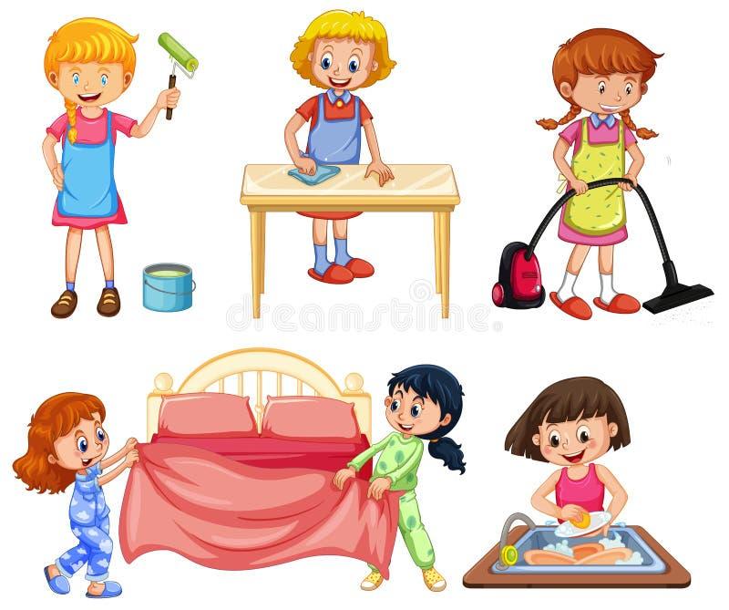 Dziewczyny robi różnym obowiązek domowy na białym tle ilustracja wektor