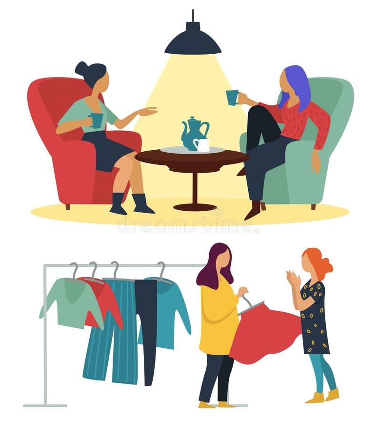 Dziewczyny robi zakupy, kawowej przerwy kawiarnia i moda butika przyjaźń ilustracja wektor