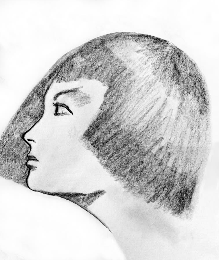 dziewczyny rysunkowa głowa s royalty ilustracja