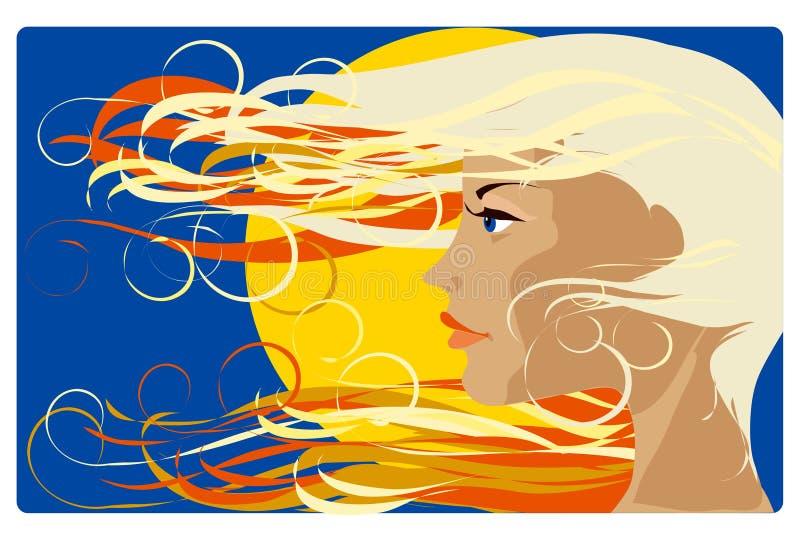 dziewczyny słońce ilustracja wektor