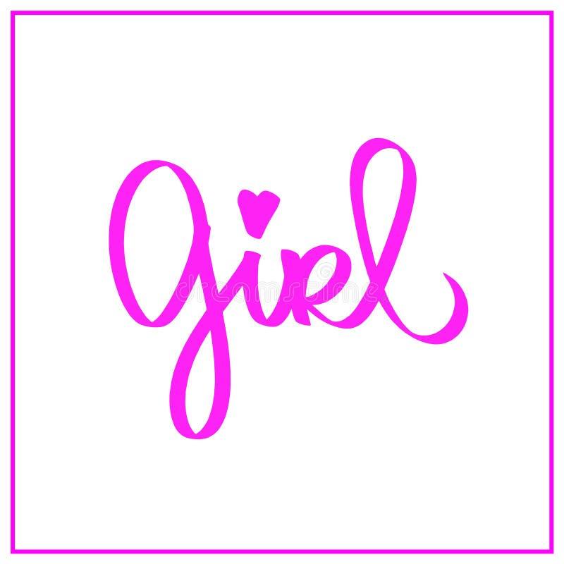 Dziewczyny słowo, mały różowy serce Kobieta feminizmu znak Dla druku, logo, dzieciaki jest ubranym, fasonuje, tkanina, książki, o ilustracja wektor