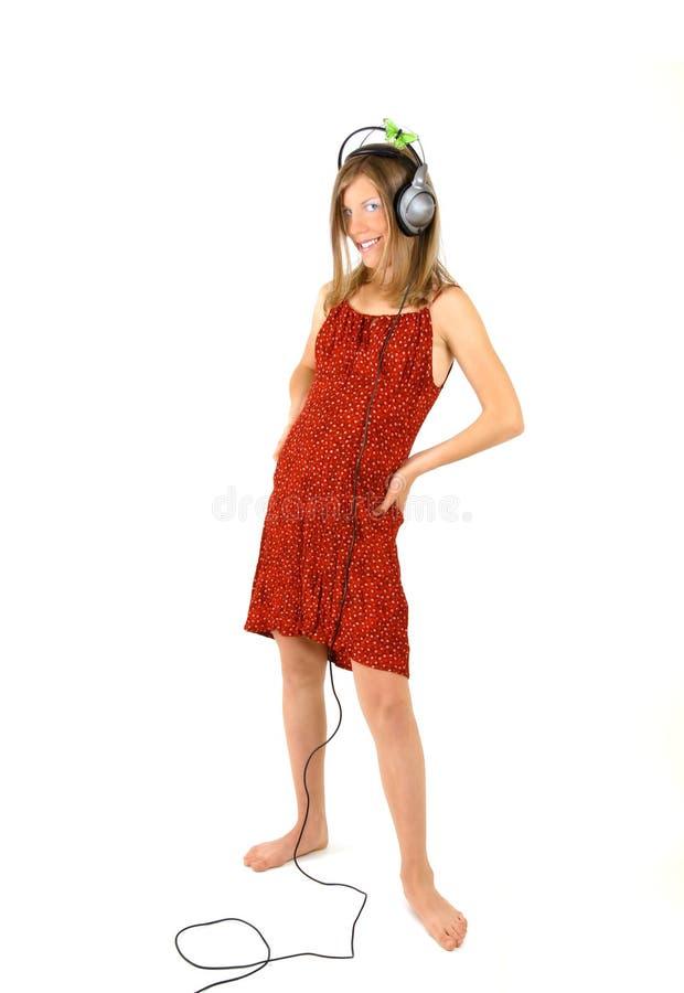 dziewczyny słuchał muzyki obrazy stock