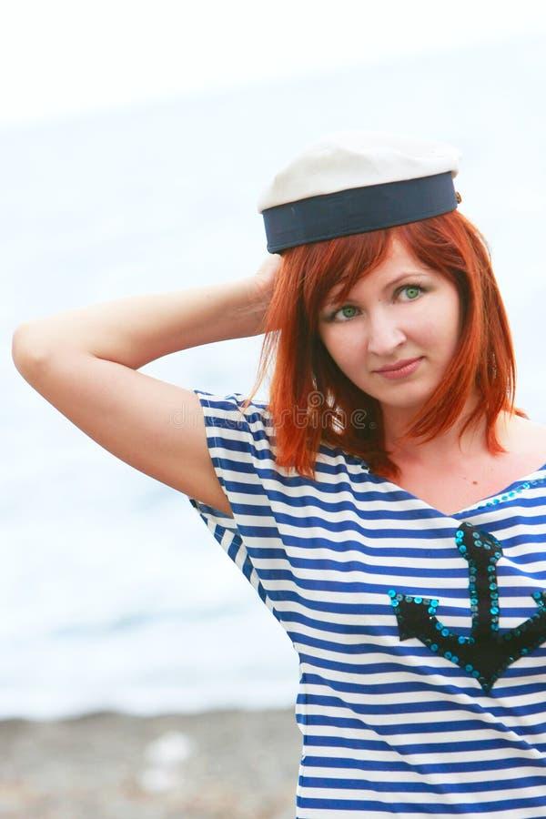 dziewczyny s smutna żeglarza kamizelka fotografia stock