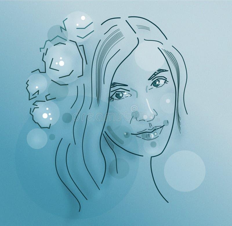 Dziewczyny ` s twarz w wianku kwiaty na błękitnym tle ilustracja wektor