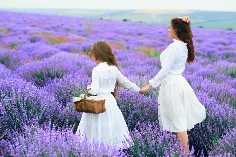 Dziewczyny s? w lawendowym kwiatu polu, pi?kny lato krajobraz zdjęcia royalty free