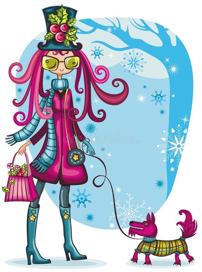 dziewczyny schnauzer zima royalty ilustracja