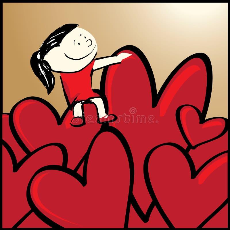dziewczyny serce siedzi twój ilustracja wektor