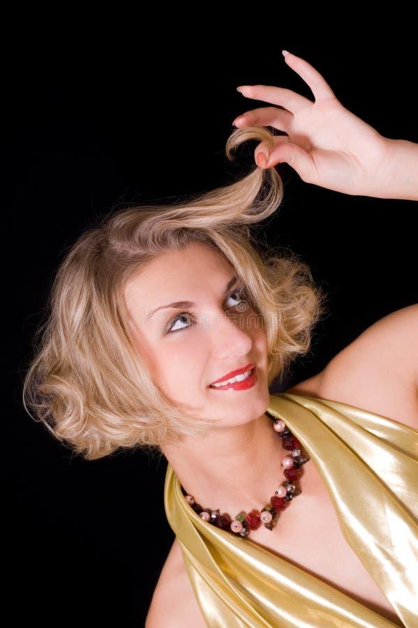 dziewczyny skarbikowany blond włosy zdjęcia stock