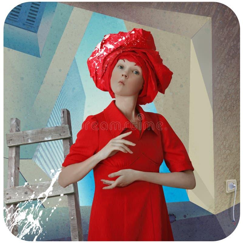 dziewczyny smokingowa śmieszna czerwień royalty ilustracja