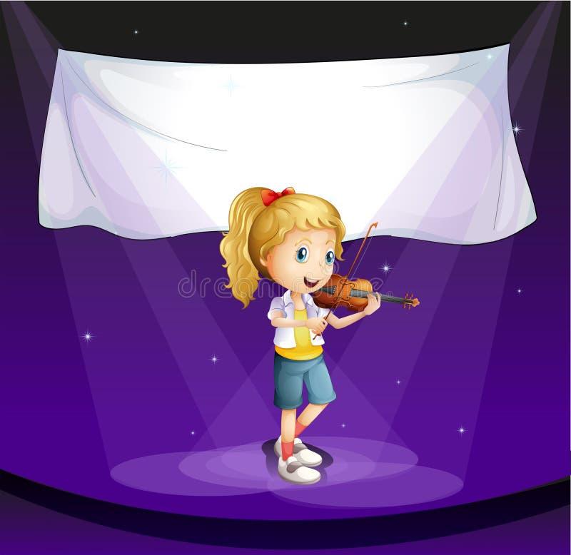 dziewczyny spełnianie przy sceną z pustym sztandarem royalty ilustracja