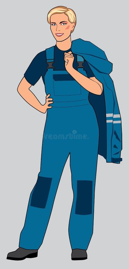Dziewczyny stojaki w pracujący błękitni kombinezony Postać w pełnym przyroscie royalty ilustracja
