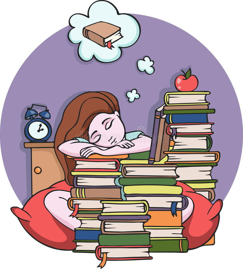 Dziewczyny studiowanie przy nocy dosypianiem z książkami - Wektorowa ilustracja ilustracja wektor