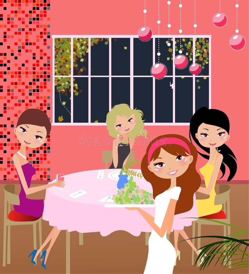 dziewczyny stwarzać ognisko domowe przyjęcia royalty ilustracja