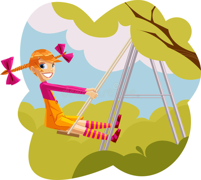 dziewczyny swingset szczęśliwy bawić się obrazy royalty free