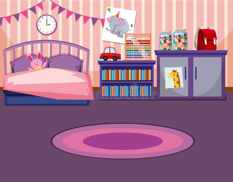 Dziewczyny sypialni szablon royalty ilustracja