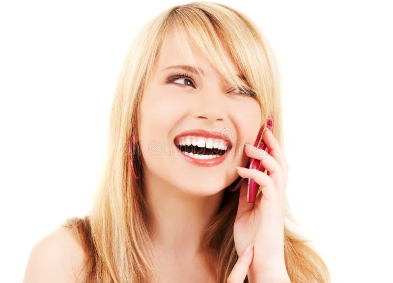 dziewczyny szczęśliwe telefonu menchie zdjęcie stock
