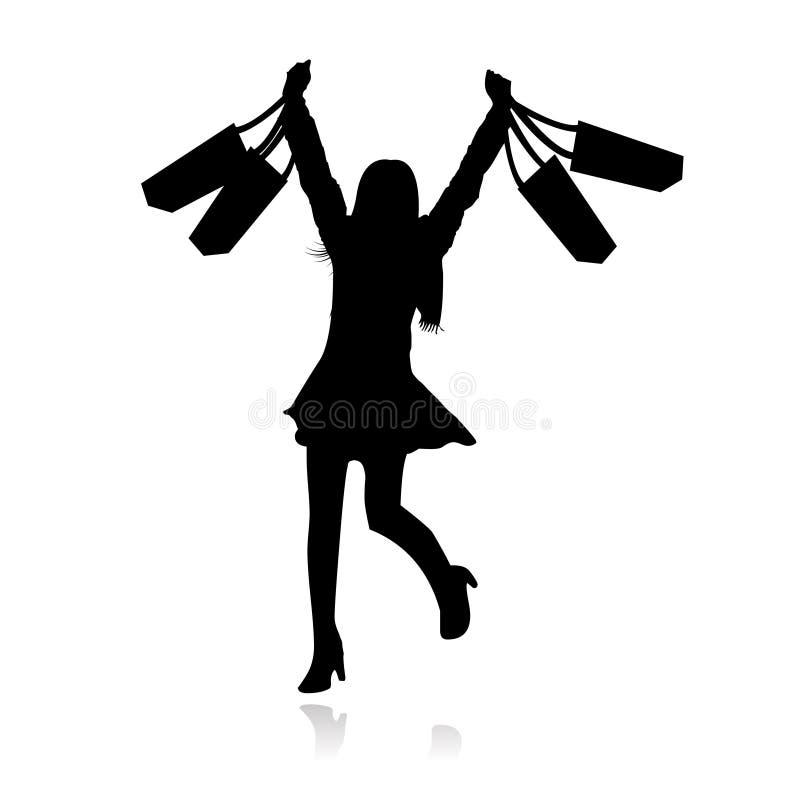 dziewczyny szczęśliwy zakupy wektor ilustracja wektor