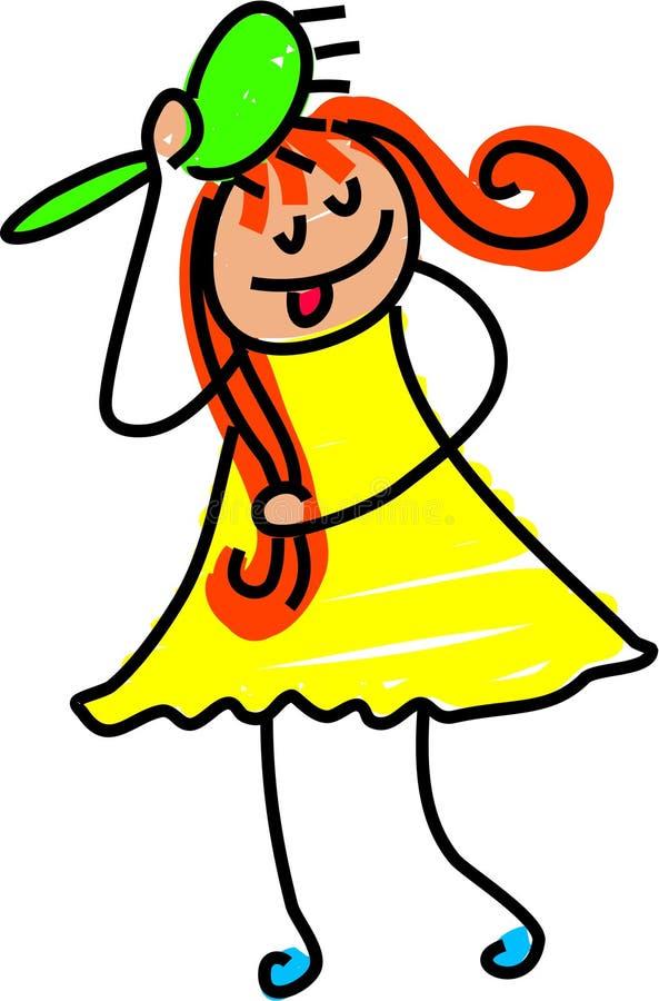 dziewczyny szczotkę do włosów ilustracji