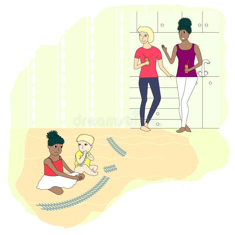 Dziewczyny sztuki zabawkarskiego toru szynowego chłopiec niszczący płaski projekt, dzieci, mama uspokaja puszek royalty ilustracja