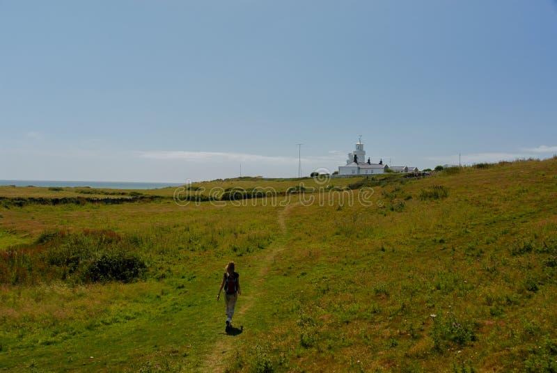 Dziewczyny trawy chodząca latarnia morska obrazy stock