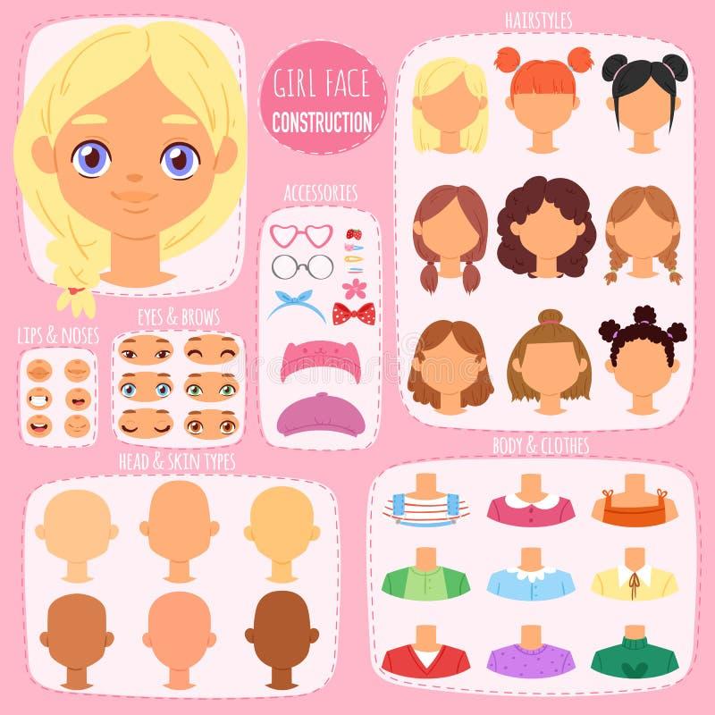 Dziewczyny twarzy konstruktora wektoru dzieciaków charakteru avatar i dziewczęcy tworzenie przewodzimy warg lub oczu ilustracyjne ilustracji