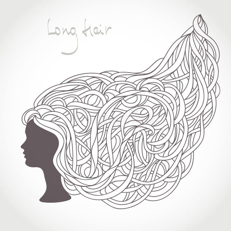 Dziewczyny twarzy sylwetka W zawiły sposób Długi blondyn ilustracji
