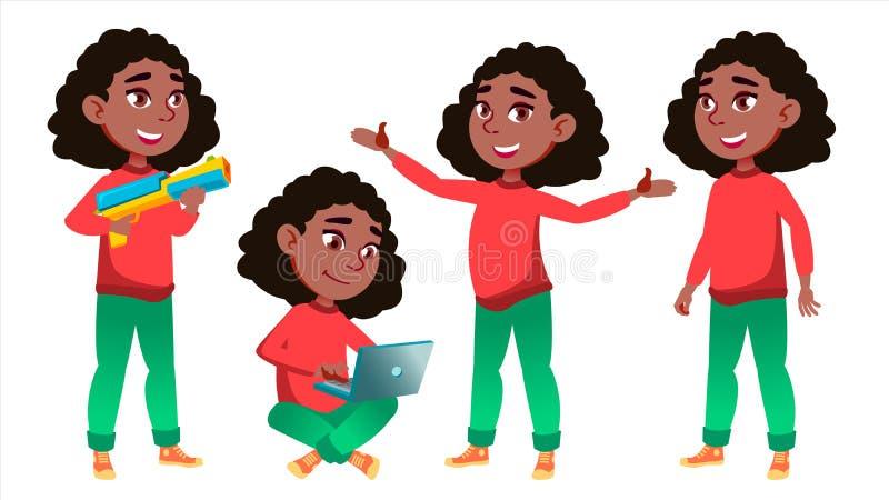 Dziewczyny uczennicy dzieciaka poza Ustawiający wektor czerń Afro amerykanin Szkoły Średniej dziecko classmate Nastolatek, sala l ilustracji