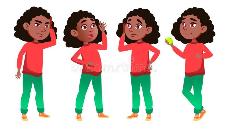 Dziewczyny uczennicy dzieciaka poza Ustawiający wektor czerń Afro amerykanin Szkoły Średniej dziecko uczeń Wrzesień, ucznie ilustracji