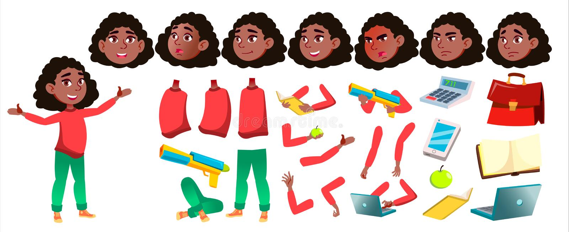 Dziewczyny uczennicy dzieciaka wektor czerń Afro amerykanin Szkoły Średniej dziecko Animaci tworzenia set Twarzy emocje, gesty ilustracja wektor