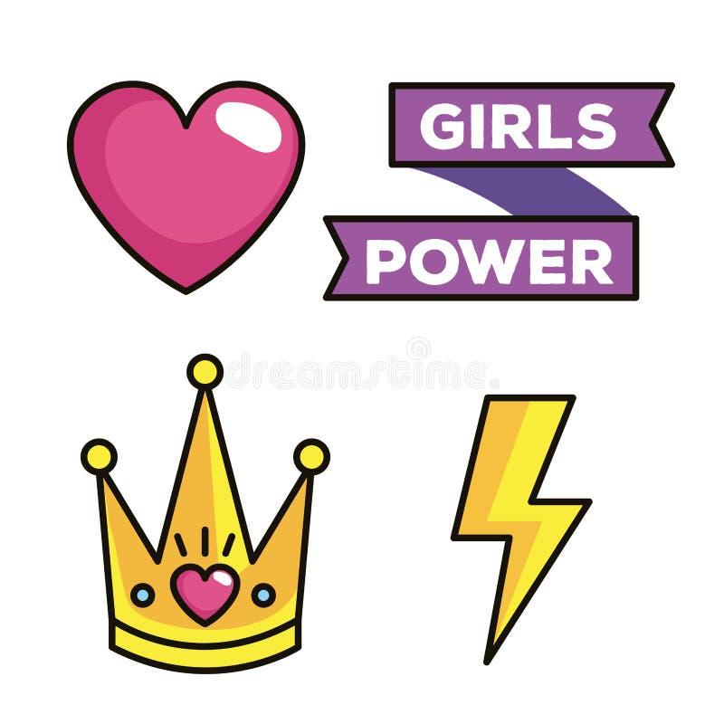 Dziewczyny władzy wystrzału sztuki ustalone ikony ilustracji